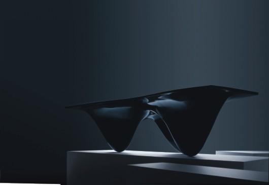 Aqua Table, black production version by Zaha Hadid Architects for Established & Sons