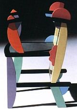 Poltroncina orange, blue, pink, purple, yellow and green, Memphis 1990