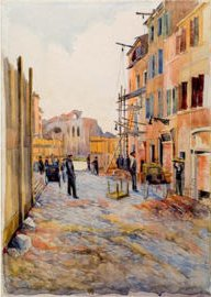 Giulio Farnese (Roma 1897- ?) - Demolizioni in Via Alessandrina, 1933 - grafite e acquerello, mm 555 x 395 - Roma, Museo di Roma, MR 868