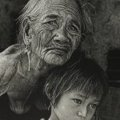 Long Thanh - Grandmother and grand-daughter, 2002 - Dim: 60 x 50 cm