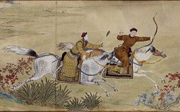 The Emperor Qianlong hunting a deer with a bow