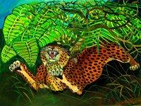 Antonio Ligabue - Leopardo - Olio su faesite,60 x 80 cm